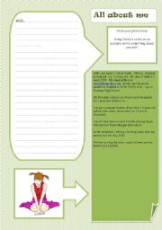English Worksheets: INTRODUCING YOURSELF - all about me