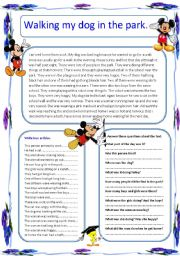 English Worksheet: Walking my dog in the park. Reading comprehension.