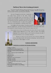 English Worksheets: Sarkozy faces increasing pressure
