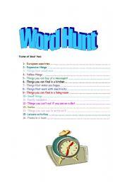 English Worksheets: Word Hunt