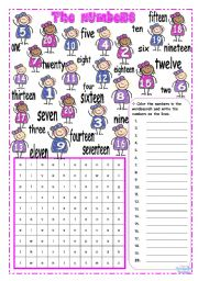 English worksheet: THE NUMBERS ~ 1 to 20