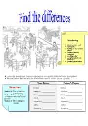 English Worksheets: Find the differences-present continous Student A