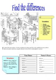 English Worksheets: Find the differences-present continous Student B
