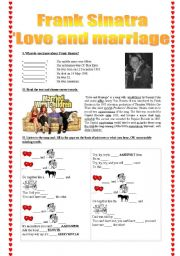 English Worksheet: Frank Sinara �Love and Marriage� song-based activity (fully editable + answer key)
