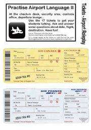English Worksheet: No.2 - AIRPORT/HOLIDAY LANGUAGE GAME- 17 Tickets - Roleplay - Practise speaking at check-in, customs, waiting area