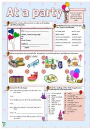 English Worksheet: At a party