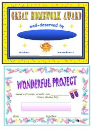 English Worksheets: certificates for students