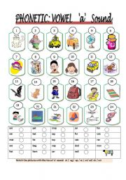 English Worksheet: Phonetic: Vowel sounds 1 of 5 ( 1c)