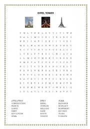 English Worksheet: Eiffel Tower Wordsearch and Cryptogram