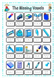 English Worksheet: SCHOOL SUPPLIES - CLASSROOM OBJECTS (3) - THE MISSING VOWELS - # 8