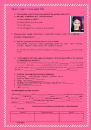 English Worksheets: second life