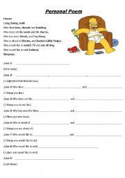 English Worksheet: Personal Poem