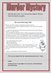 English Worksheet: Murder mystery/ the angry chef