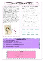 The simple past and St. Valentine´s day (editable with answers)