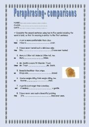 English Worksheet: Paraphrasing ex. (comparisons) + KEY