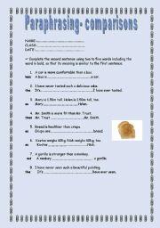 English Worksheet: Paraphrasing ex. (comparisons) + KEY