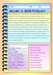 English Worksheet: Mum�s birthday. Reading comprehension.