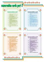 English Worksheet: CONVERSATION CARDS part 1