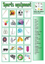sports equipment matching esl worksheet by ana b. Black Bedroom Furniture Sets. Home Design Ideas