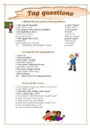 English Worksheets: tag question