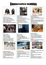 English Worksheet: Conversation cards / Many interesting topics to discuss