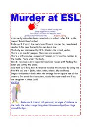 English Worksheets: Murder at ESL