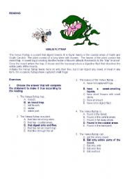 English worksheet: READING  THE VENUS FLYTRAP