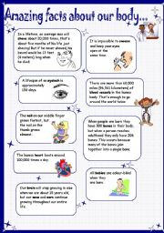 English Worksheets: facts about our body - did you know?