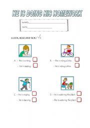 English worksheet: EXERCISES ABOUT  PRESENT CONTINUOUS TENSE