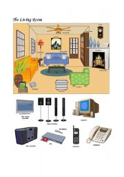 English Worksheet: Pictionary - The living room