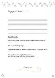 English Worksheets: My partner