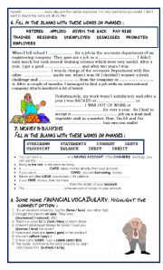 English Worksheet: Project on WORK & MONEY - PART 2 - SHARING & ANSWER KEY