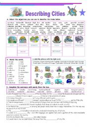 English Worksheets: DESCRIBING CITIES (key included)