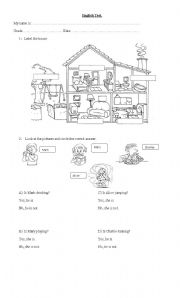 English Worksheets: house and actions
