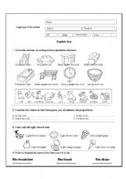 English test 2 (Prepositions of places/ Food)
