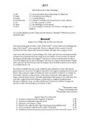 English Worksheets: Beowulf Reading Exercise