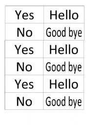 English Worksheets: Hello Good Bye memory game