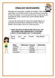 English Worksheets: ENGLISH NICKNAMES