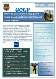 English Worksheet: Scotland: golf (editable)