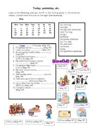 English Worksheets: today, yesterday, etc.