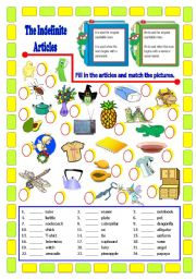 English Worksheet: The Indefinite Articles