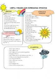 English Worksheet: Useful phrases for expressing opinions