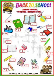English Worksheet: back to school - school supplies-crosswords