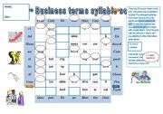 English Worksheet: PRONUNCIATION GAME Business terms syllable soup + KEY for the teacher