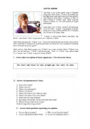 English Worksheet: DESCRIBING JUSTIN BIEBER