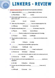 English Worksheet: LINKERS - REVIEW