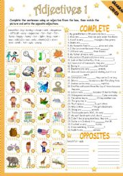 English Worksheets: ADJECTIVES 1/2