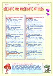 English Worksheet: DEFINITE AND INDEFINITE ARTICLES   WS.