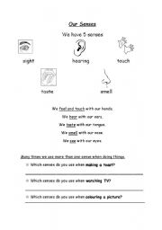 English Worksheets: My 5 senses part 1