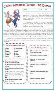 English Worksheets: Chile´s National Dance: The Cueca